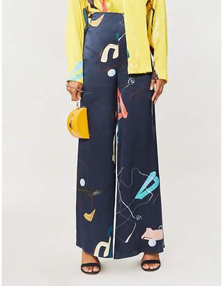 Roksanda Arneau wide-leg silk trousers
