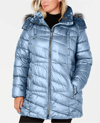 Andrew Marc Plus Size Hooded Faux-Fur-Trim Puffer Coat
