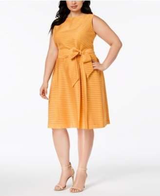 Anne Klein Plus Size Shadow-Stripe Fit & Flare Dress
