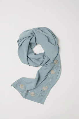 H&M Scarf with Beaded Embroidery - Green