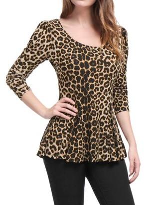 Unique Bargains Women's Leopard Prints Stretchy Peplum Shirt Peplum Blouse Tops