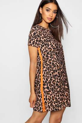 boohoo Leopard Print Contrast Panel Shift Dress