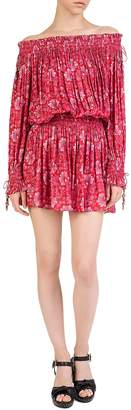 The Kooples Summer Blossom Shirred Off-the-Shouder Floral Mini Dress