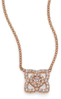 De Beers Enchanted Lotus Diamond& 18K Rose Gold Mini Pendant Necklace