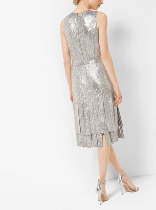 Michael Kors Sequin-Embroidered Silk-Georgette Streamer Dress