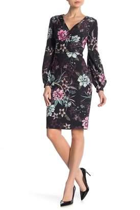 Badgley Mischka Floral Blouson Sleeve Dress