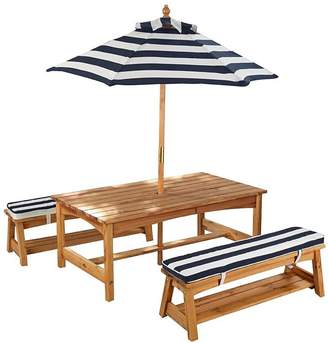 Kid Kraft Kids' Outdoor Table & Bench Set with Cushions & Umbrella, Blue
