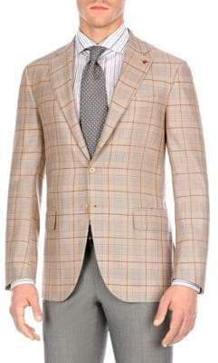 Isaia Plaid Notch Jacket