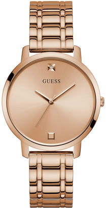 GUESS Women Diamond-Accent Rose Gold-Tone Stainless Steel Bracelet Watch 40mm