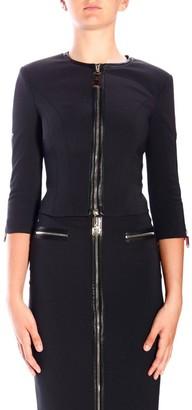 Elisabetta Franchi Blazer Crew-neck Jacket In Bi-elastic Fabric With Zip