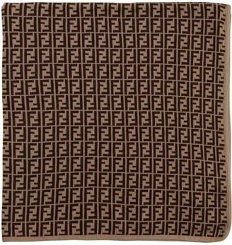 Fendi Intarsia Logo Cotton Blend Knit Blanket