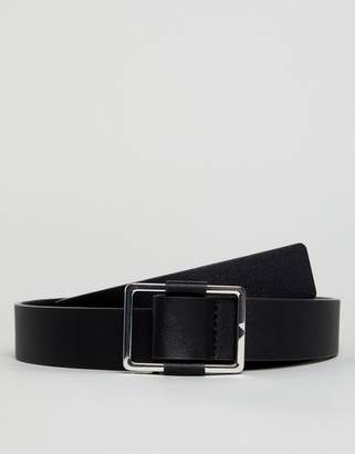 Asos DESIGN wedding smart faux leather slim belt in black with silver box buckle