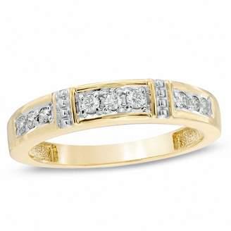 Zales Ladies' 1/8 CT. T.W. Diamond Collar Wedding Band in 10K Gold