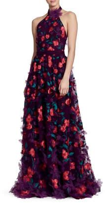Marchesa Floral Halter Gown
