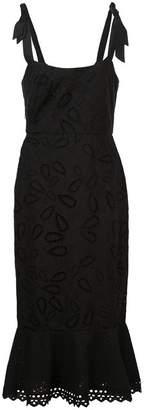 Saloni Black Rosie Midi Dress