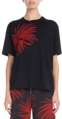 Victoria Beckham Victoria Firework-Embroidered Crewneck Short-Sleeve Cotton T-Shirt