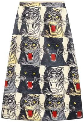Gucci Tiger face print silk a-line skirt