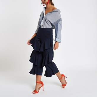 River Island Womens Navy tiered frill front culottes