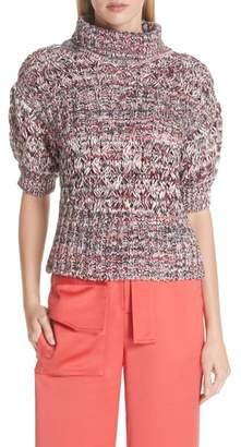 Self-Portrait Melange Cotton & Wool Sweater