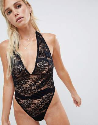 Asos DESIGN Lorelli super plunge lace bodysuit with bow detail