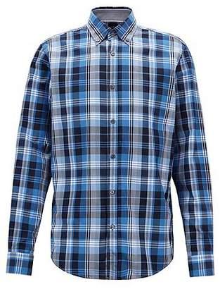 HUGO BOSS Regular-fit shirt in checked cotton twill