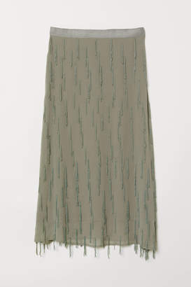 H&M Skirt with Beaded Fringe - Green
