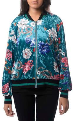 Anna Cai Floral Velvet Bomber Jacket