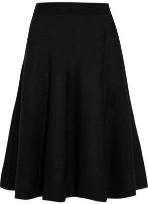 Lanvin - Stretch Wool-blend Midi Skirt - Black $1,050 thestylecure.com