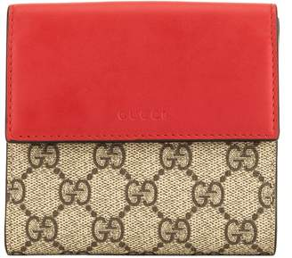 Gucci Red and Fuchsia Leather GG Supreme Canvas French Flap Wallet (4083002)
