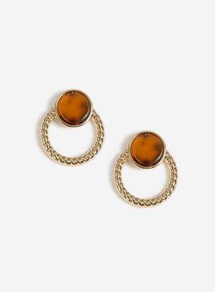 Miss Selfridge Gold Look Tortoiseshell Ring Stud Earrings