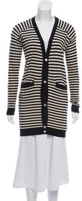 Timo Weiland Striped Lightweight Wool Cardigan Black Striped Lightweight Wool Cardigan