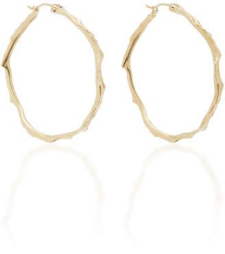 Annette Ferdinandsen Coral Stick 14K Gold Diamond Hoop Earrings