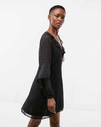Express Ruffle Balloon Sleeve Fit And Flare Dress