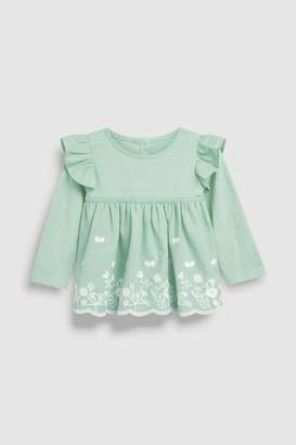 Next Girls Mint Long Sleeve Broderie Top (3mths-7yrs)