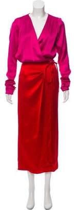ATTICO Satin Colorblock Dress