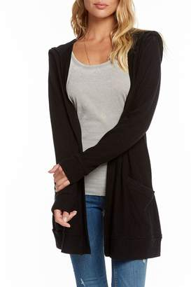 Chaser Lace-Back Hooded Cardigan