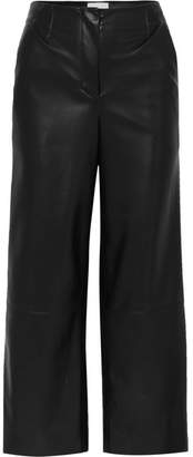 Nanushka - Africa Cropped Vegan Leather Wide-leg Pants - Black