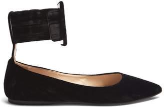 ATTICO Julia ankle-strap velvet flats