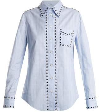 Prada - Stud Trimmed Checked Cotton Shirt - Womens - Light Blue
