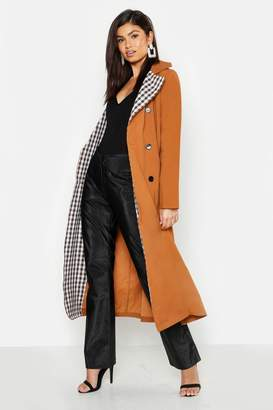 boohoo Check Lined Trench Coat