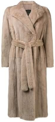 Blancha tie waist fur jacket