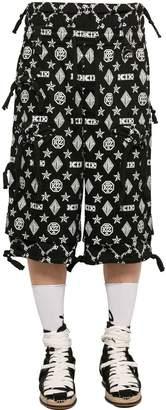 Kokon To Zai Monogram Print Cotton Gabardine Shorts