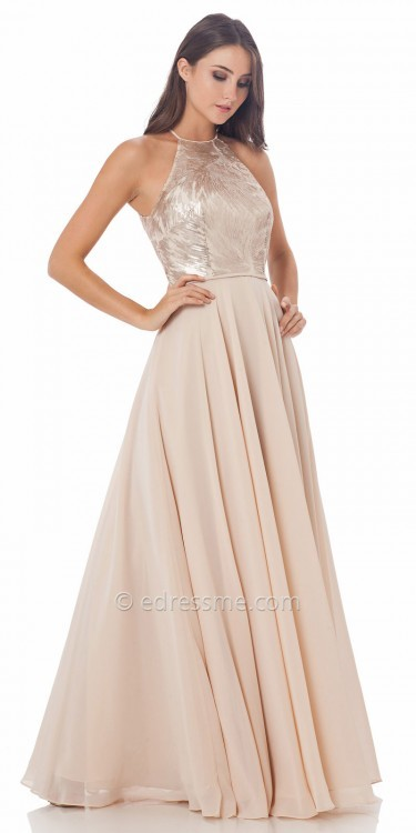 Carmen Marc ValvoCarmen Marc Valvo Infusion Jacquard Halter A Line Prom Dress