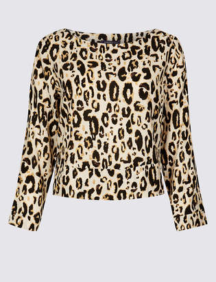 Limited Edition Animal Print Round Neck Long Sleeve Top
