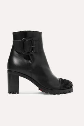 Christian Louboutin Olivia Snow 70 Spiked Leather Ankle Boots - Black