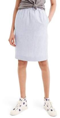 J.Crew Pull-On Stripe Linen & Cotton Skirt