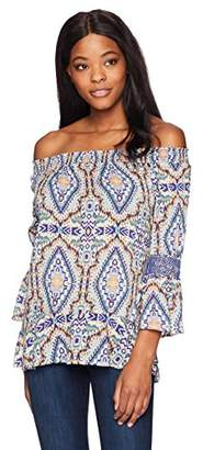 Democracy Women's Off The Shoulder Top with Smocked Elbow