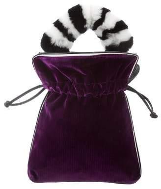 Les Petits Joueurs Velvet Fur-Trimmed Shoulder Bag