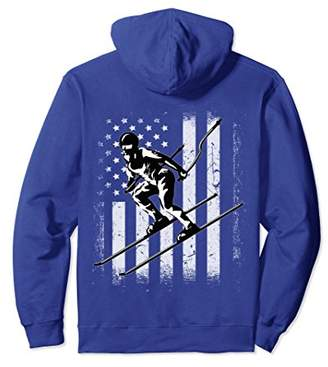 USA White - Vintage American Flag Skiing Player Hoodie