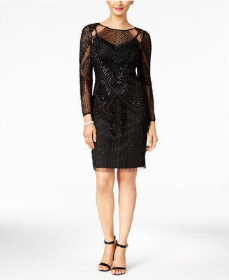 Adrianna Papell Beaded Illusion Cocktail Dress $299 thestylecure.com